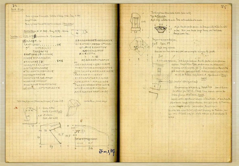 Pages 74-75 du Carnet de Charles Picard Thasos 1912